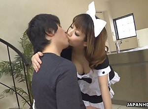 Cross Japanese damsel Yume Aino flashes boobies with an increment of gives precise titjob